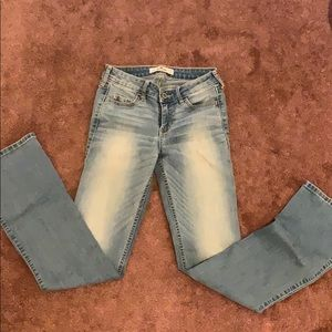 Hollister size 0s faded flare jeans medium blue